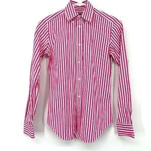 Ralph Lauren Pink White Striped Button Down Shirt